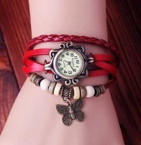 Relógio De Pulso Retro Vintage Vermelho - Envio Imediato