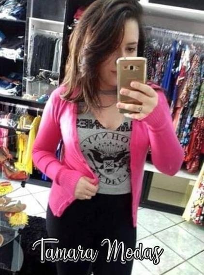 Blusa Cardigan Pink De Botões , Em Lã Mousse P Veste 38 40