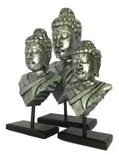 Estátua Máscara Buda Decorativo Em Madeira Bali - Trio