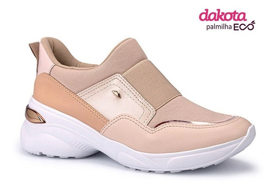 Tênis Feminino Dakota G2482 Aveia Flatform Slip On Nude