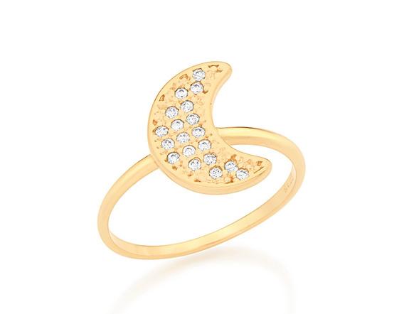 Anel Rommanel Skinny Ring Com Lua Com Zircônias - 512491