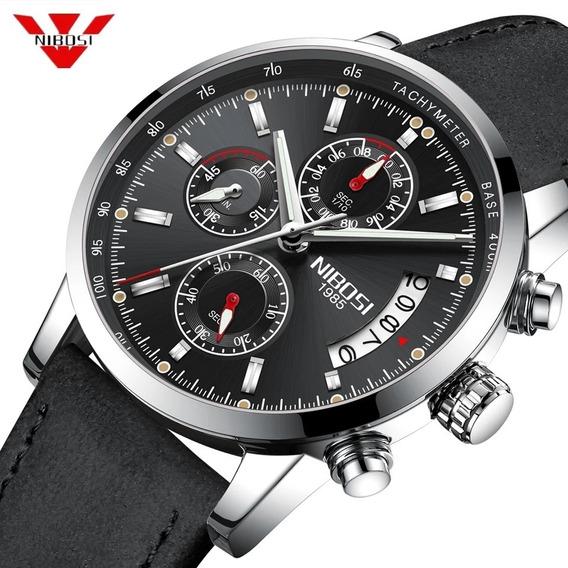 Relógio Masculino Nibosi 2327-2 Pulseira Couro Preto Caixa Preta