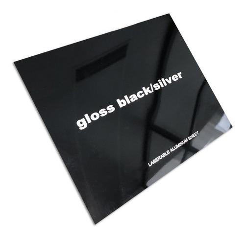 Aluminio Bicapa Laserables 0,45mm X4 Unidades Negro / Plata