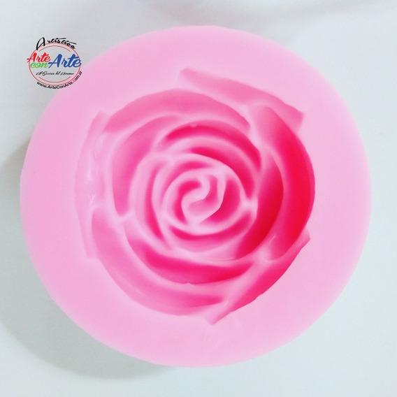 Rosa Roseton Silicona Caucho Xl 7 Cm Ideal Jabon, Porcelana