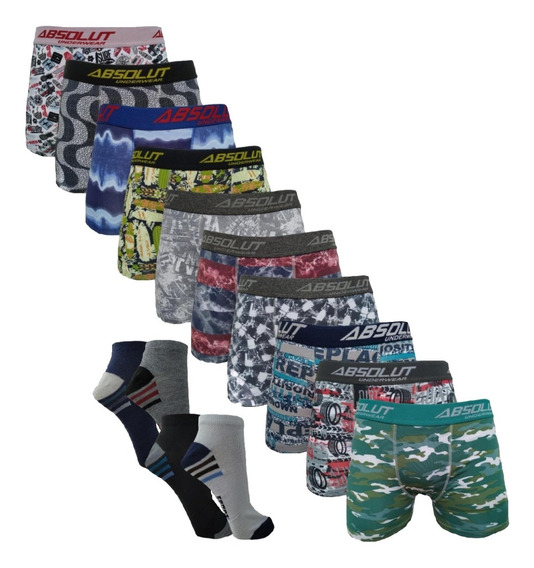 Kit 10 Cuecas Box Boxer Estampadas Originais + 12 Par Meias