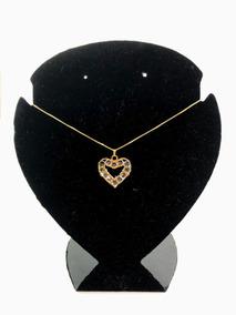 Corrente Com Pingente Coração Com Pedra Cristal Semi Joia