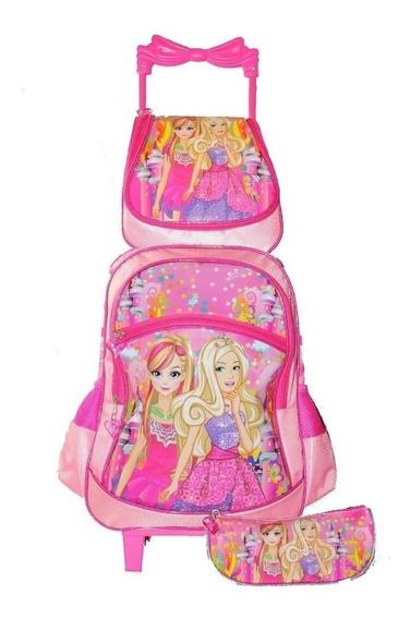 Mochila Escolar Infantil Feminina Princesas Com Rodinhas