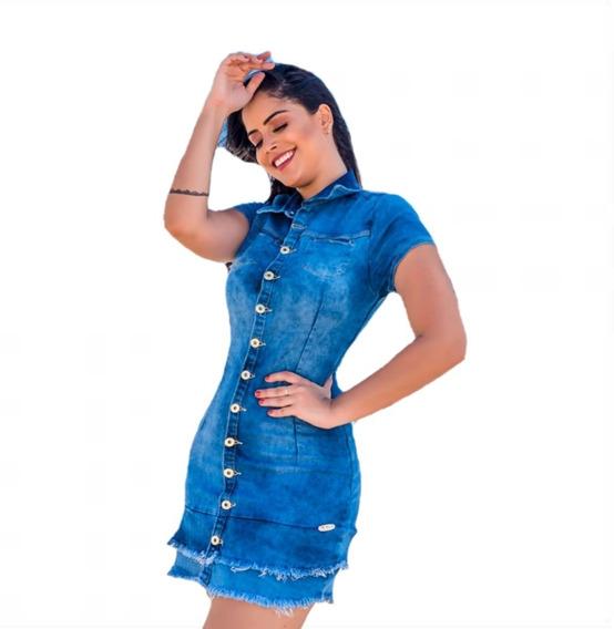 Vestido Jeans Feminino Com Lycra Barra Dupla Desfiada Chemis