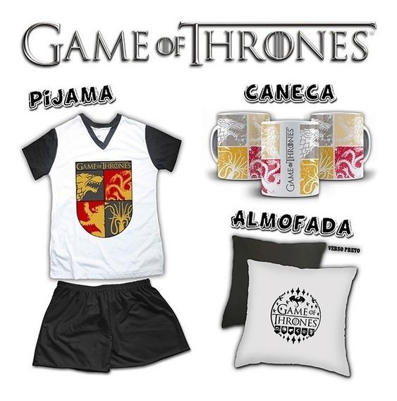 Kit Pijama Feminino + Almofada + Caneca Game Of Thrones