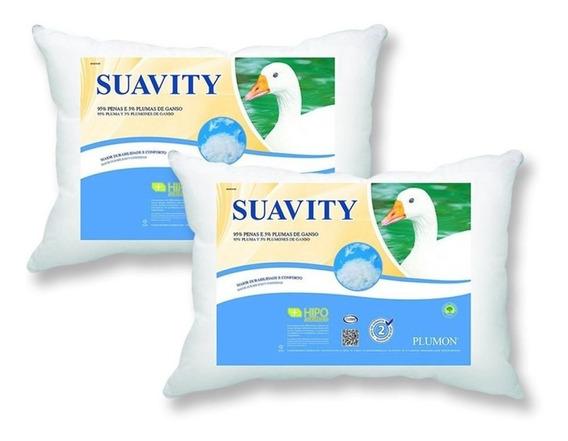 Kit 2 Travesseiros Plumon Suavity Penas E Plumas De Ganso