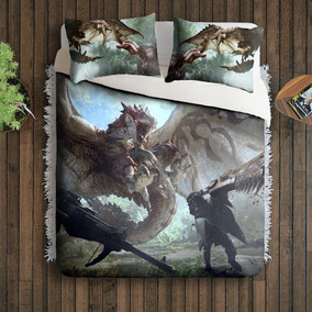 Jogo Cama Casal Queen Size Monster Hunter World Game Geek