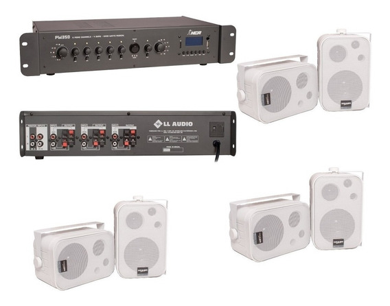 Som Ambiente Amplific Bluetooth + 6 Caixas Donner Sp400 200w