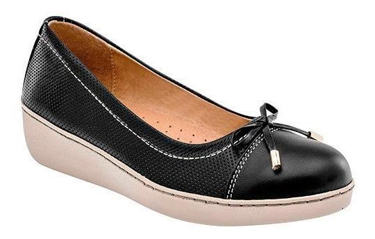 Zapato Piso Mujer Zoe Negro Piel Moño Cerrado D67319 Udt
