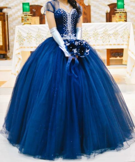 Vestido De Xv Años Azul Marino Con Accesorios