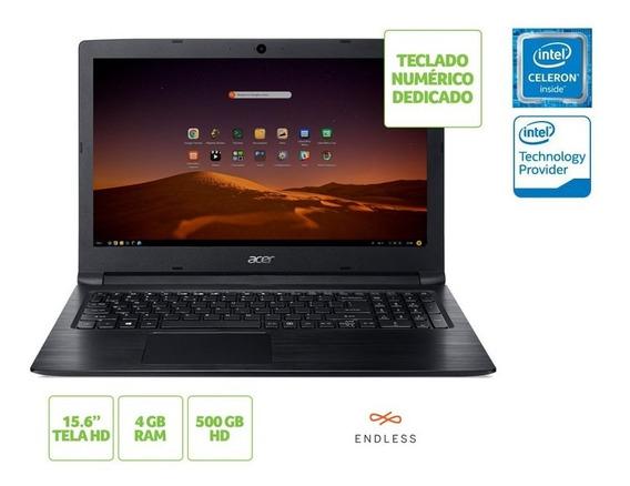 Notebook Acer Nxhaaal002 A315-33-c58d Dual Core N3060 4gb 500gb Linux 15.6 Hd Preto