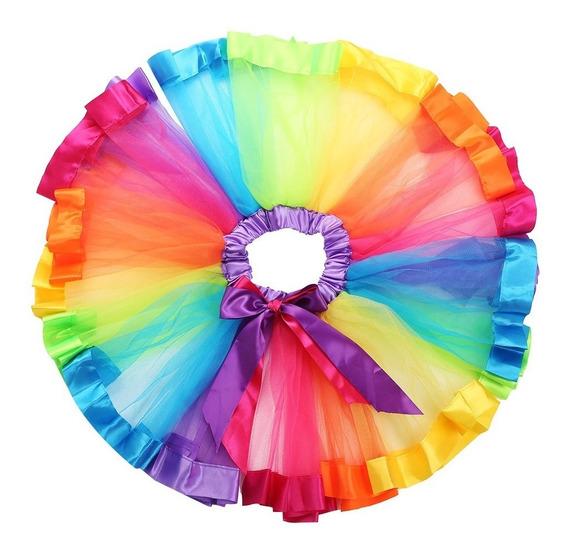 Tutu De Colores Con Listón En La Orilla, Incluye Moño!!