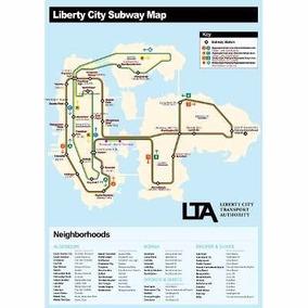 Mapa Oficial Gta Iv 4 Liberty City Street Map E Subway Map