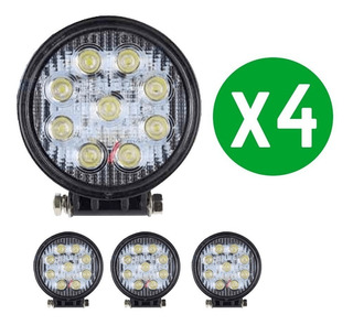Pack 4 Foco Led Neblinero 27w Redondos 9 Led/ Technosouless