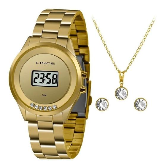 Kit Relógio Feminino Dourado Digital Lince Barato Original