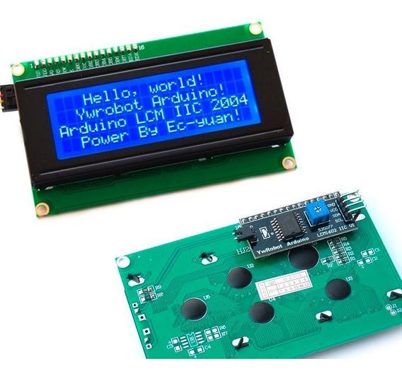 Kit Display Lcd 20x4 + I2c Back Azul P/ Pic Arduíno