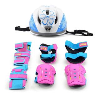 Kit Proteção Completo Infantil Fila Feminino Skate Patins