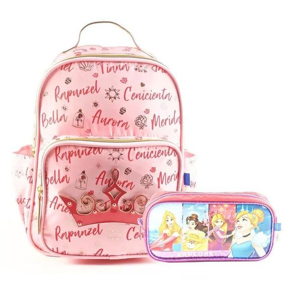 Mochila Escolar Infantil Jardin Princesa Disney + Cartuchera