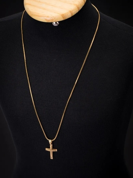 Cordão Aço Inoxidável Cruz Dourada