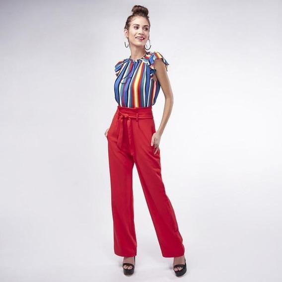 Pantalón De Fiesta Color Rojo Para Dama Mundo Terra 019540