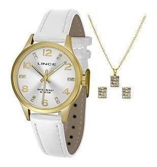 Kit Relógio Lincecouro Branco Visor Prata Strass Lrch052l
