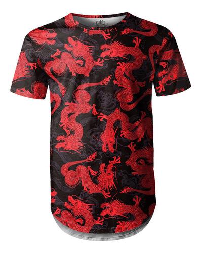 Camiseta Masculina Longline Swag Dragão Chinês Vermelho