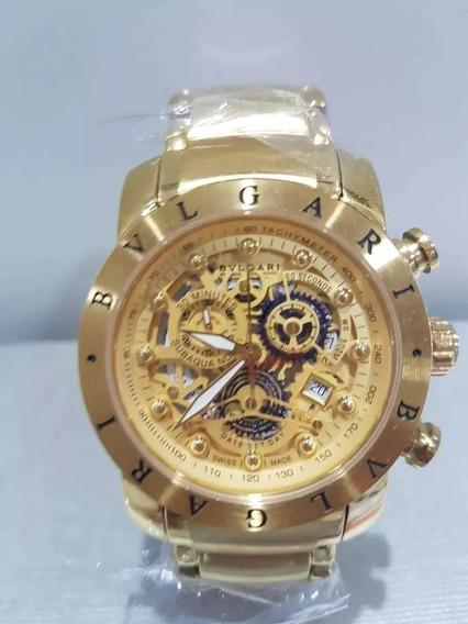Relógio Rfr8569 Masculino Bv Iron Man Dourado Esqueleto