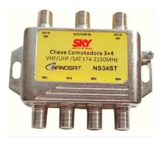 Chave Comutadora Sky Banda C Ku Uhv/vhf Saida P/4 Receptores