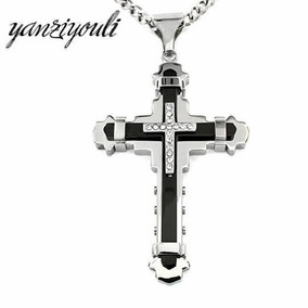 Colar Cordão Pingente Crucifixo Bizantina Aço Inoxidável