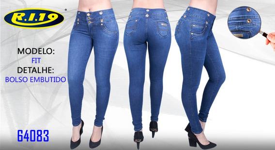 Calça Jeans Feminina Bolso Embutido Fit Ri19 64083