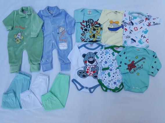 Kit Com 11 Pçs Roupa Bebê Enxoval Menino E Menina Promoção