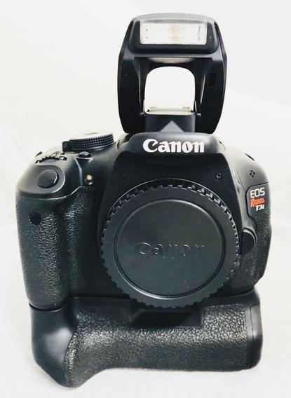 Dslr Câmera Cânon T3i Seminova Corpo C Grip Impecável
