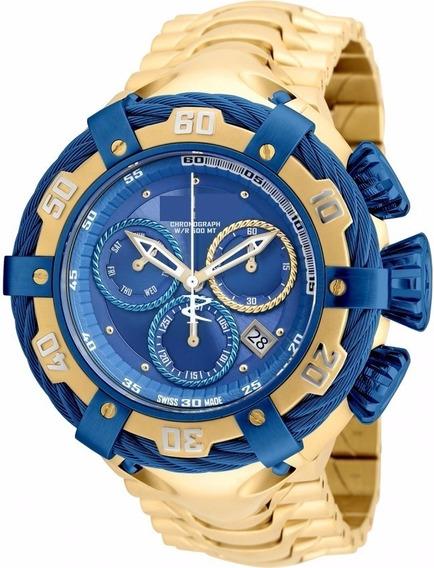Relógio Aço Bolt Dourado Grande Ostentação Inox Zeus