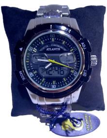 Relógio Atlantis Ana. Dig. Prata Fundo Preto E Amar. - G3208