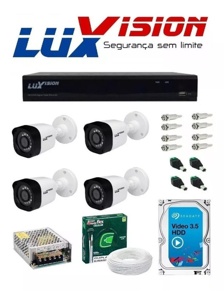Kit Cftv Dvr Full Hd Luxvision 4 Ch + 4 Câmeras + Hd + Cabo