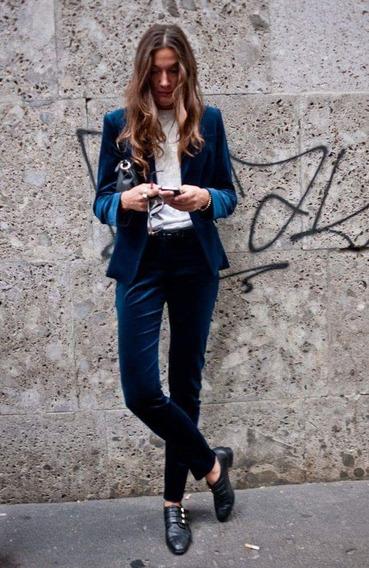 Pantalon Chupin Materia Pana Azul Talle 36 Adrogue Envios