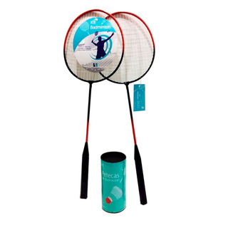 Kit Badminton Y888 2 Raquetes 2 Petecas