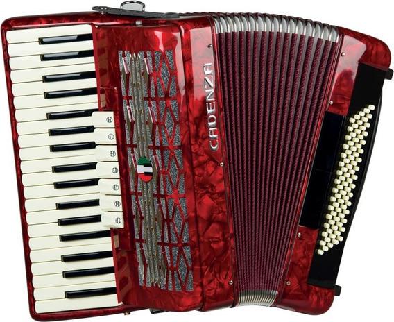 Acordeon 80 Baixos Cadenza Cd80/37 Vermelho Com Case E Alça
