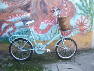 Bicicleta Plegable Aurorita Rodado 20 Color Celeste