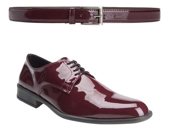 Zapatos Hombre Con Cinto Charol Moda Eco Cuero Importados