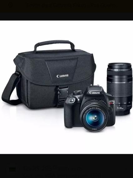 Câmera Canon Eos T6 18-55mm + 75-300mm + Case + Bateria Extr