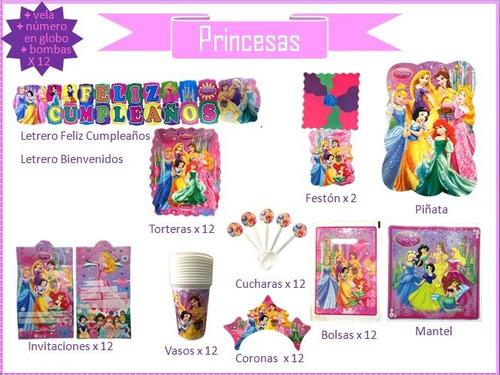 Imagen 1 de 10 de Kit De Decoración Fiesta Princesas, Cumpleaños, Piñata