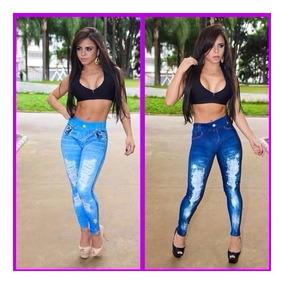 Calça Legging Leg Calsa Estampa Jeans E Caveira Kit 7 Pecas.