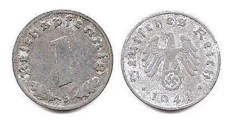 Moneda Alemania Reich 1 Pfennig Año 1941 Zinc Con Esvastica