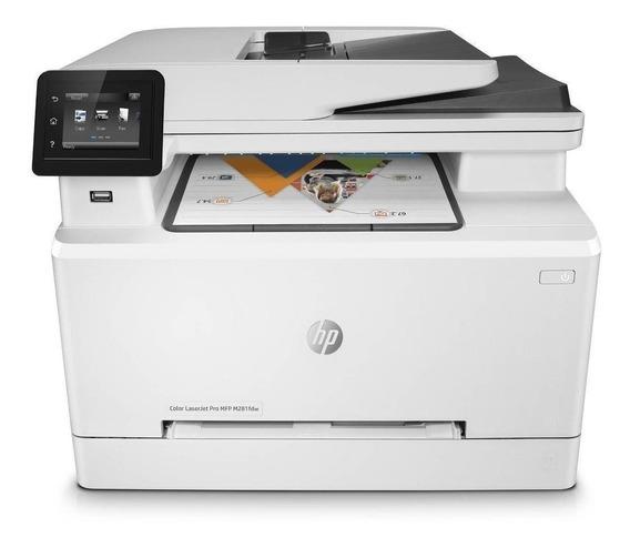 Impressora a cor multifuncional HP LaserJet Pro M281FDW com Wi-Fi 110V branca