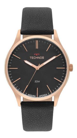Relógio Technos Masculino Preto/rosê Couro 2035mqg2p